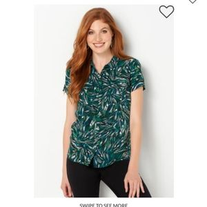 Abstract Print Button Down Green and Blue Shirt